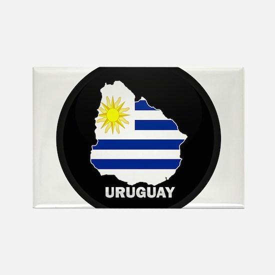 Flag Map of Uruguay Rectangle Magnet
