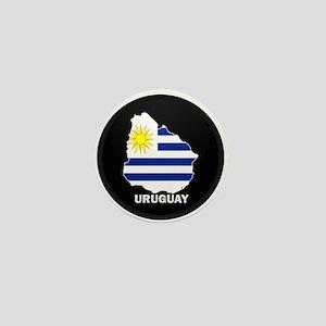 Flag Map of Uruguay Mini Button