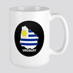Flag Map of Uruguay Large Mug
