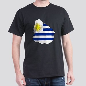 Uruguay Flag Map Dark T-Shirt