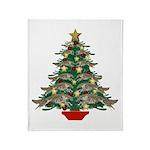 Leaping Borzoi Christmas Tree Throw Blanket