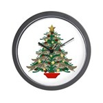 Leaping Borzoi Christmas Tree Wall Clock