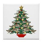 Leaping Borzoi Christmas Tree Tile Coaster