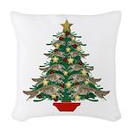 Leaping Borzoi Christmas Tree Woven Throw Pillow