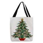 Leaping Borzoi Christmas Tree Polyester Tote Bag