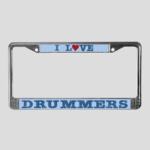 I Love Drummers License Plate Frame