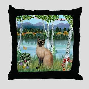Birches / Siamese Throw Pillow