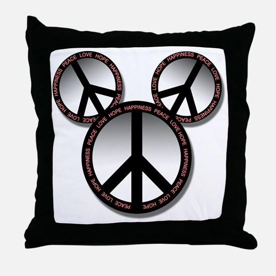 Peace love hope black Throw Pillow