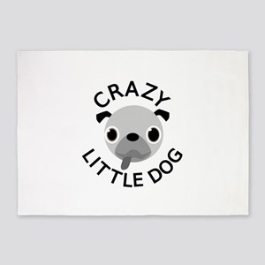 Pug Crazy Little Dog 5'x7'Area Rug