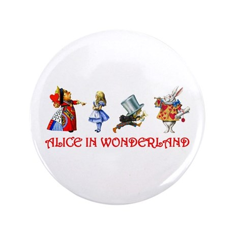 """ALICE IN WONDERLAND & FRIENDS 3.5"""" Button"""
