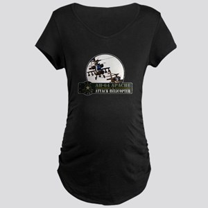 AH-64 Apache Helicopter Maternity Dark T-Shirt