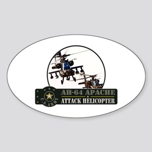 AH-64 Apache Helicopter Oval Sticker