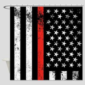 Firefighter Flag Shower Curtain