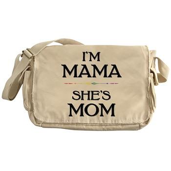 I'm Mama - She's Mom Canvas Messenger Bag