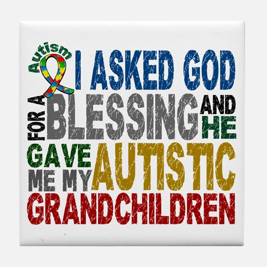 Blessing 5 Autistic Grandchildren Tile Coaster