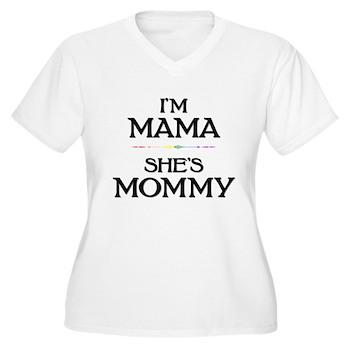 I'm Mama - She's Mommy Women's Plus Size V-Neck T-
