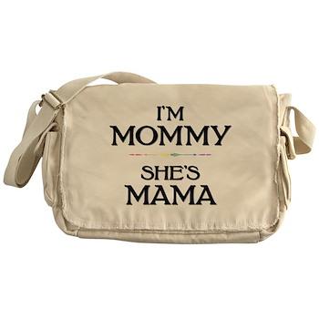 I'm Mommy - She's Mama Canvas Messenger Bag