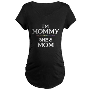 I'm Mommy - She's Mom Dark Maternity T-Shirt