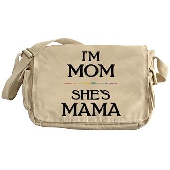 I'm Mom - She's Mama Canvas Messenger Bag