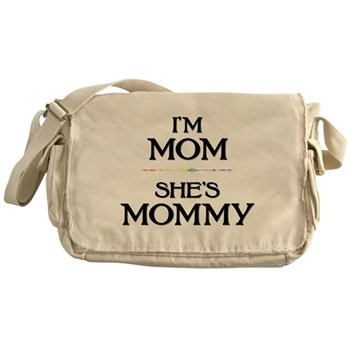 I'm Mom - She's Mommy Canvas Messenger Bag