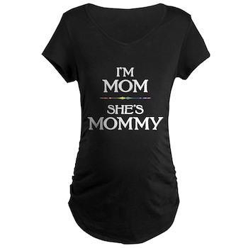 I'm Mom - She's Mommy Dark Maternity T-Shirt