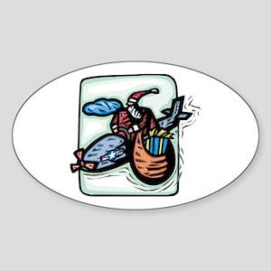Santa Flying High Oval Sticker