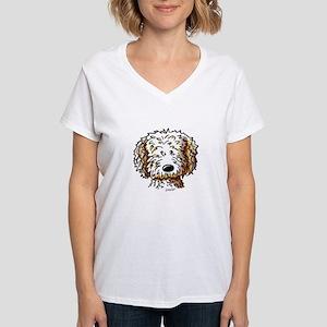 Doodle Dog Face Women's V-Neck T-Shirt