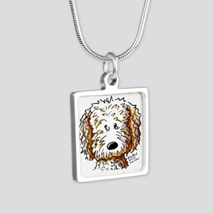 Doodle Dog Face Silver Square Necklace