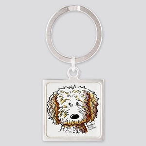 Doodle Dog Face Square Keychain