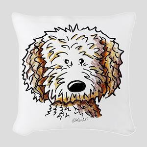 Doodle Dog Face Woven Throw Pillow