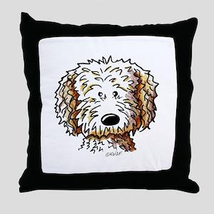 Doodle Dog Face Throw Pillow
