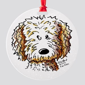 Doodle Dog Face Round Ornament