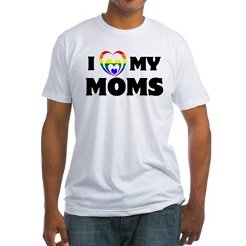 I Heart my Moms LGBT Fitted T-Shirt