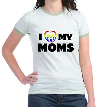 I Heart my Moms LGBT Jr. Ringer T-Shirt