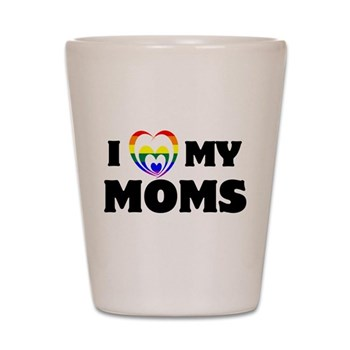 I Heart my Moms LGBT Shot Glass
