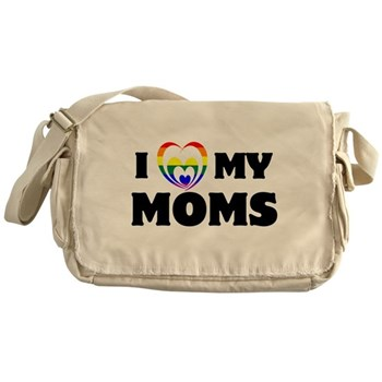 I Heart my Moms LGBT Canvas Messenger Bag