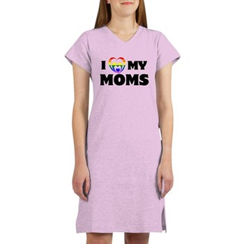 I Heart my Moms LGBT Women's Nightshirt