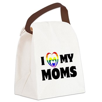 I Heart my Moms LGBT Canvas Lunch Bag