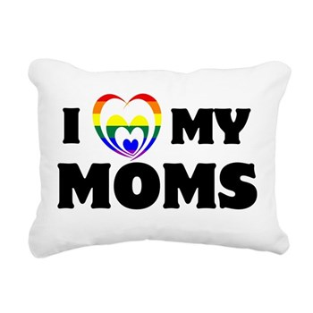 I Heart my Moms LGBT Rectangular Canvas Pillow