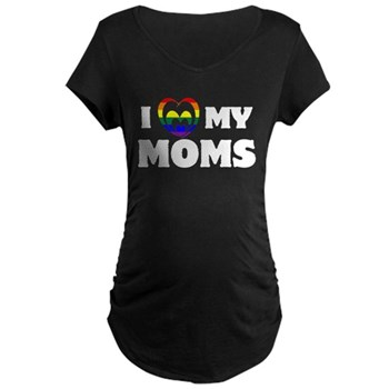 I Heart my Moms LGBT Dark Maternity T-Shirt