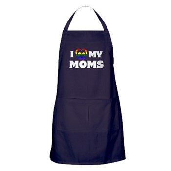 I Heart my Moms LGBT Dark Apron