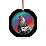 Rainbow Rooster Ceramic Round Ornament