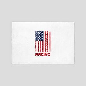 Dirt Track Racing American Flag Racer 4' x 6' Rug