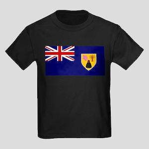 Turks and Caicos Islands Fla Kids Dark T-Shirt
