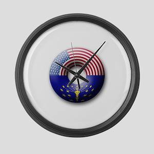 USA - Indiana Flag Donut Large Wall Clock