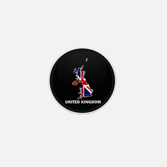 Flag Map of United Kingdom Mini Button