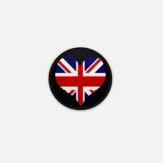 I love United Kingdom Flag Mini Button