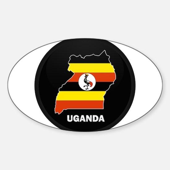 Flag Map of uganda Oval Decal