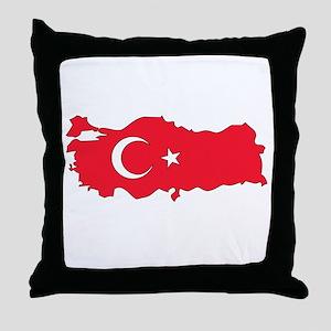 Turkey Flag Map Throw Pillow