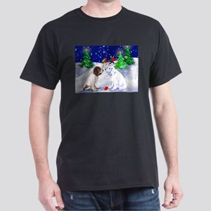 Springer Spaniel and snow Black T-Shirt